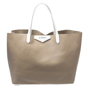 Givenchy Leather Shopper Pouch Tote in Beige