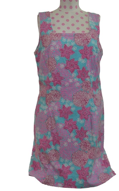 Item - Pink Women's Blue Floral Sleeveless Long Casual Maxi Dress Size 12 (L)