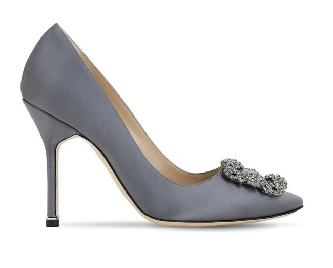 Item - Grey Hangisi 105 Satin Silk Crystal Jewel Buckle Stiletto Heel Pumps Size EU 39 (Approx. US 9) Regular (M, B)