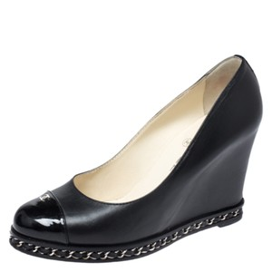Chanel Leather Patent Leather Chain Embellished Wedge Black Pumps