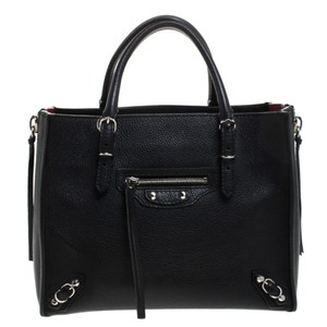 Balenciaga Leather Mini Papier Tote in Black
