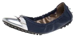Tod's Leather Ballet Rubber Blue Flats