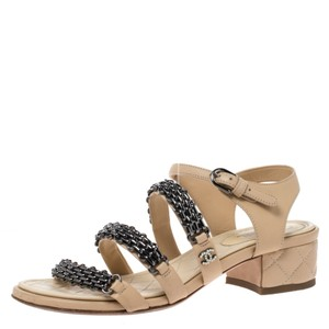 Chanel Leather Chain Detail Quilted Ankle Strap Beige Sandals