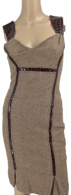 Item - Tan Tweed/Wool Mid-length Cocktail Dress Size 4 (S)
