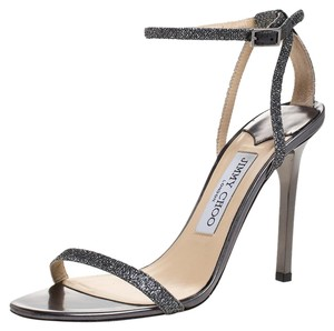 Jimmy Choo Lame Fabric Leather Ankle Strap Open Toe Metallic Sandals