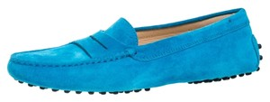 Tod's Suede Moccasin Loafers Blue Flats