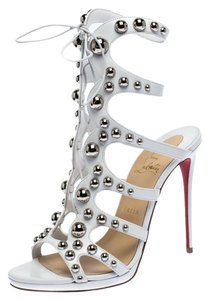 Christian Louboutin Leather Studded White Sandals