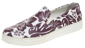 Prada Floral Printed Leather Rubber White Athletic