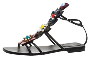 Fendi Leather Ankle Strap Gladiator Flat Multicolor Sandals