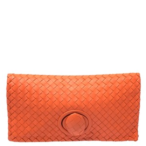 Bottega Veneta Leather Suede Orange Clutch