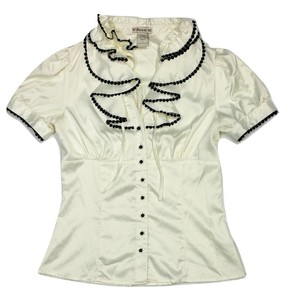 Forever Pin Up Puff Sleeve Secretary Ruffle Top Off-White