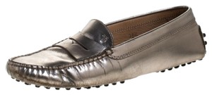 Tod's Leather Rubber Metallic Flats