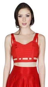 Wow Couture Crop Cutaway Cut-out Bodycon Top Red