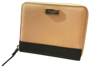 KATE SPADE NEW $169 KATE SPADE PINK BLK LAUREL WAY DARCI ZIP LEATHER WALLET