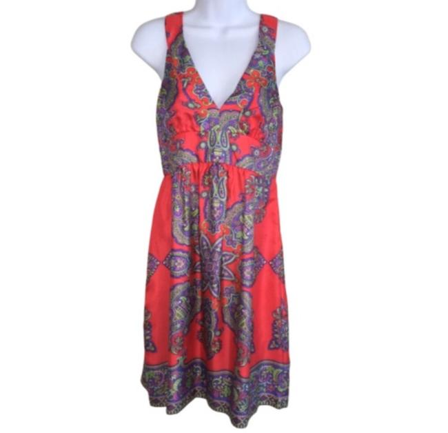 Item - Red Paisley Print Silk Mid-length Night Out Dress Size 2 (XS)