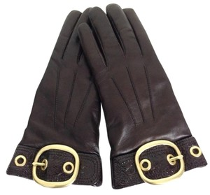 Coach Buckle Glow Leather Driving Gloves w/Patent Leather