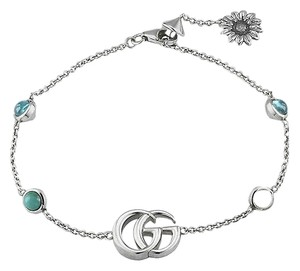 Gucci GG Marmont sterling silver and mother-of-pearl bracelet