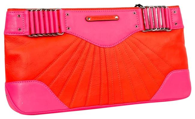 Item - Park Avenue Hot Pink / Coral Leather Clutch