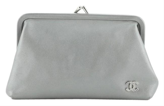 Item - Evening Cc Frame Lambskin Small Gray Leather Clutch