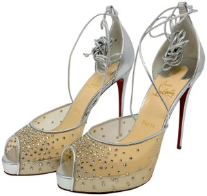 Christian Louboutin Red Bottoms Calf Leather Red Stiletto metallic Pumps