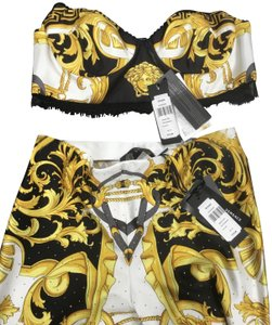 Versace White, Gold, and Black Halter Top