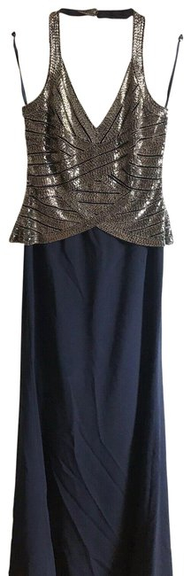 Item - Silver/Navy Adrianna Papell Nwot Evening Gown Long Casual Maxi Dress Size 6 (S)