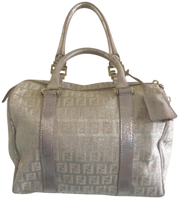 Item - Boston Bag Lg Glitter Silver Pink Canvas Baguette