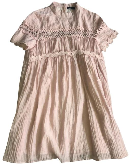 Item - Pink Baby Doll Detailed Short Casual Dress Size 6 (S)