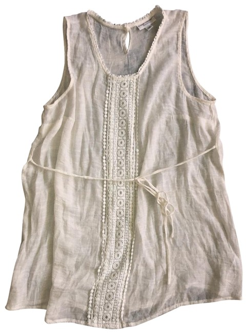 Item - Ivory Crocheted Trim Summer Maternity Top Size 12 (L)