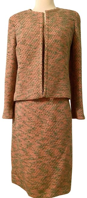 Item - Pink and Green Tweed Three Piece Vintage Skirt Suit Size 4 (S)