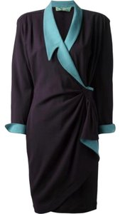 Thierry Mugler Belted Wool Sheath Wrap Mini Dress