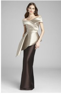 Teri Jon Taupe and Brown Stretch Gazar Satin Gown Formal Bridesmaid/Mob Dress Size 10 (M)