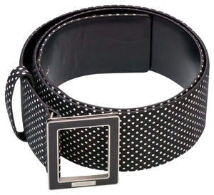 Chanel NEW Chanel CC Spring 2013 Polka Dot Wide Belt 42 Black White Signature