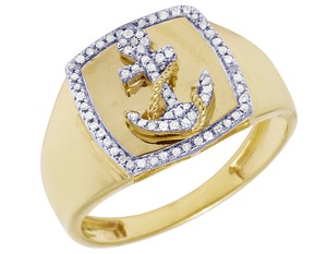 Jewelry Unlimited Diamond Anchor Ring 14MM .2CT