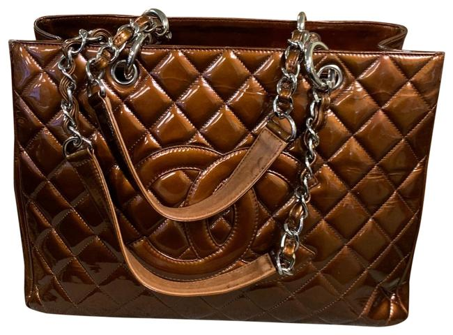 Item - Shopping Copper Quilted Chain Grand Brown Patent Leather Tote