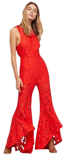 Item - Red Rise and Shine Lace Romper/Jumpsuit