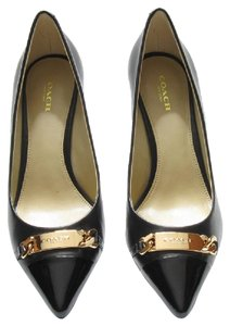 Coach Leather Bowery Black/Black Patent Pumps