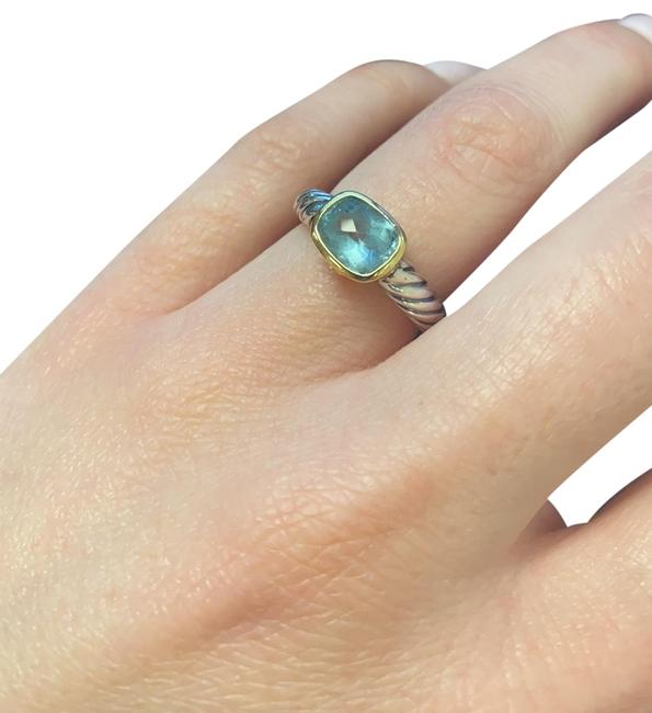Item - Silver with 14k Gold Blue Topaz Stone Ring
