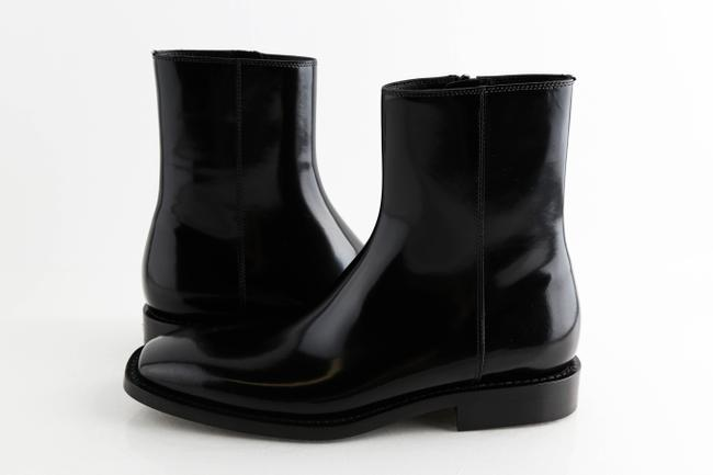 Item - Black Zip Ankle Patina Calf Boots Shoes
