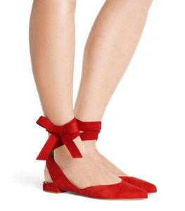 Stuart Weitzman Suede Lace Up Ballerina Red Flats