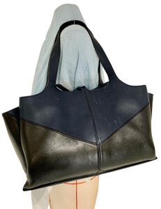 Celine Tri Fold Satchel in Black Navy