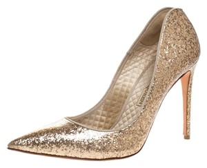 Alexander McQueen Patent Glitter Leather Pointed Toe Gold Pumps