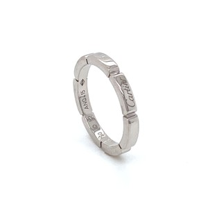 Cartier Maillon Panthere Diamond 18k White Gold Band Ring Size 52