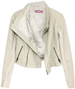 VEDA Beige Leather Jacket