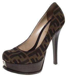 Fendi Canvas Fendista Platform Brown Pumps