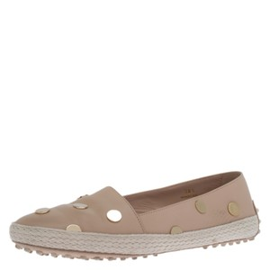 Tod's Leather Studded Espadrille Beige Flats