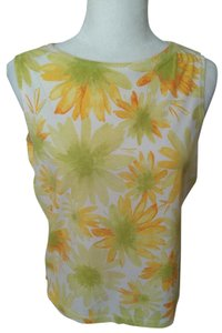 Liz Sport Vintage Spring High Neck Top Yellow/Lime Green Floral