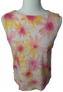 Liz Sport Vintage Spring High Neck Top Yellow/Pink Floral