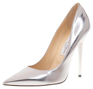 Jimmy Choo Leather Pointed Toe Silver Pumps