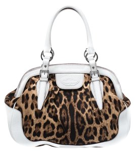 Dolce&Gabbana Print Canvas Leather Satchel in White